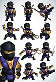 picture of ninja  - Set of 11 Ninja fighting postures in blue kimono with arms and without - JPG