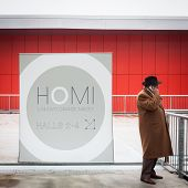 Man On Phone At Homi, Home International Show In Milan, Italy