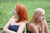 picture of offensive  - Two beautiful girls sit on bench and take offense at each other in park at summer day  - JPG
