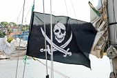 stock photo of skull crossbones flag  - Flag of a Pirate skull and crossbones - JPG