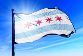 Chicago (USA) flag waving on the wind poster