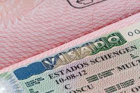 stock photo of olympiade  - shot of few passport with Schengen visa  - JPG