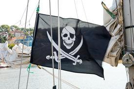 picture of skull crossbones flag  - Flag of a Pirate skull and crossbones - JPG