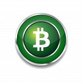 stock photo of bit coin  - Bit Coin Sign Circular Green Vector Web Button Icon - JPG