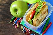 stock photo of sandwich  - sandwich with cheese and tomato and green apple for a healthy school lunch