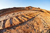 foto of open-pit mine  - open coal mining pit with heavy machinery