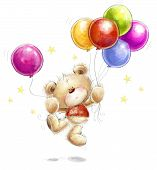 picture of teddy  - Cute Teddy bear with the colorful balloons and stars - JPG
