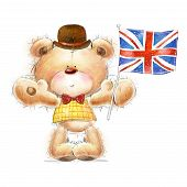 stock photo of teddy  - Cute Teddy bear with the  UK flag in the hat - JPG