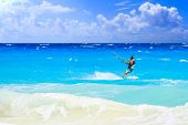 image of playa del carmen  - Kitesurfer on caribbean sea in Playa del Carmen Mexico - JPG