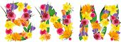 stock photo of letter n  - Vector colorful flower font - JPG