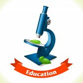 stock photo of microscopes  - Realistic school microscope icon with ribbon banner isolated on white background vector illustration - JPG