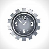 stock photo of gear wheels  - Metal cog wheel gear steel machine clock engine mechanism emblem vector illustration - JPG