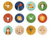 stock photo of pisces horoscope icon  - Set of Astrological Zodiac Symbols - JPG