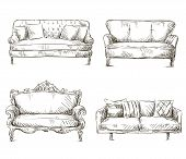 foto of interior sketch  - set of sofas drawings sketch style - JPG
