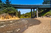 picture of klamath  - Wilson Creek beach Klamath California highway overpass - JPG