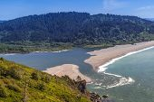 image of klamath  - Klamath River end at the Pacific Ocean viwe form the Klamath overview in Klamath California - JPG