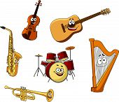 image of drum-set  - Set of classic musical instruments with a saxophone - JPG