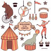 stock photo of stage decoration  - Set of various circus elements people animals and decorations - JPG