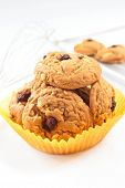 image of baked raisin cookies  - Freshly delicious baked oatmeal raisin cookies - JPG