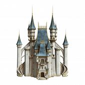 stock photo of castle  - 3D digital render of a fairytale castle isolated on white background - JPG