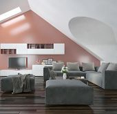 picture of apex  - Modern living room with sloping apex walls and ceiling with skylights - JPG