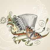 stock photo of accordion  - hand drawn accordion on a light background - JPG