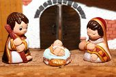 stock photo of nativity scene  - Nativity scene with Holy family of nazareth - JPG
