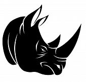 image of rhino  - Angry rhino head on the white background - JPG