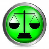 image of magistrate  - Scale green button isolated on white background - JPG