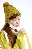 picture of cough  - portrait of young Japanese woman suffers from bad cough - JPG
