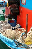 picture of life-boat  - Still life of fishing boat in Greek harbor - JPG