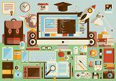 stock photo of driving school  - Flat modern design vector illustration concept of creative school desktop workspace workplace - JPG