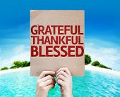 image of blessed  - Grateful Thankful Blessed card with a beach on background - JPG