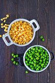 foto of sweet pea  - sweet corn and green peas in bowl - JPG