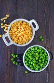 foto of sweet-corn  - sweet corn and green peas in bowl - JPG