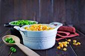 stock photo of sweet pea  - sweet corn and green peas in bowl - JPG