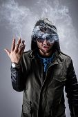 image of gangsta  - Handsome guy smoke a cigar - JPG