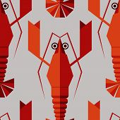 stock photo of lobster  - Seamless abstract vector pattern with geometric lobsters - JPG