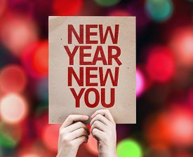picture of countdown timer  - New Year New You card with colorful background with defocused lights - JPG