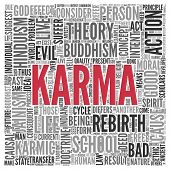 pic of karma  - Close up KARMA Text at the Center of Word Tag Cloud on White Background - JPG