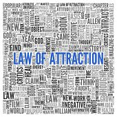 image of laws-of-attraction  - Close up Blue LAW OF ATTRACTION Text at the Center of Word Tag Cloud on White Background - JPG