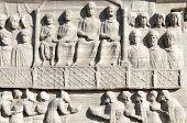 stock photo of obelisk  - Egypt Reliefs on the Pedestal of the Obelisk  - JPG