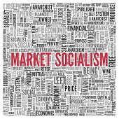 image of anarchists  - Close up Red MARKET SOCIALISM Text at the Center of Word Tag Cloud on White Background - JPG