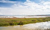 picture of wetland  - Landscape of a wetland in Tuscany with the sky that reflects itself on a lake - JPG