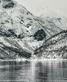 stock photo of fjord  - Beautiful mountain landscape with the Norwegian fjords in winter - JPG