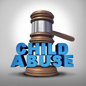 stock photo of neglect  - Child abuse concept and criminal abusive mistreatment of children symbol as a justice judge gavel or mallet coming down on the words that represent the criminal act of neglect and violence on kids - JPG