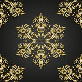 stock photo of damask  - Damask  floral pattern with arabesque and oriental golden elements - JPG