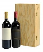 picture of liquor bottle  - Wine bottle with wood gift box on white background - JPG