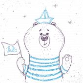 image of cute bears  - silhouettes cartoon cute sailor bear in sketch style - JPG