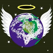 foto of halo  - angel Earth with beautiful wings and halo - JPG